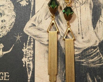 Miss Fisher Flapper Earrings - Art Deco Jewelry - Art Deco Earrings - 1920s Jewelry - Bridesmaid Gift - Downton Abbey Style Jewelry