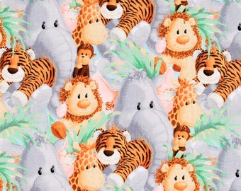 Jungle Babies Packed Nursery Cotton Fabric by the yard
