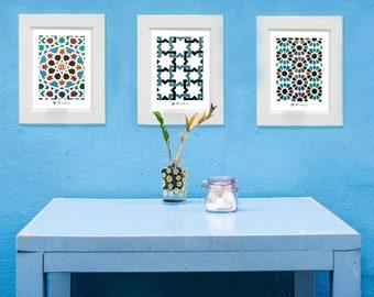 Set 3 impresiones geométricas, ALHAMBRA, Decoración con azulejos, Decoración árabe, Decoración Mediterránea, Set de azulejos, Decorar cocina
