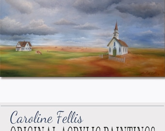 "White Church Meadow Acrylic Painting Original Art The Church in the meadow by Caroline Fellis 30x60"" Rural Landscape Church House on Canvas"