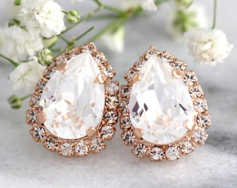 Bridal wedding earrings, Bridal Teardrop Earrings, Bridesmaids Earrings, Rose Gold Crystal Earrings, Swarovski Bridal Earrings, Bridal Studs