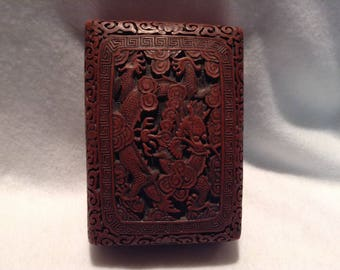 Antique Carved Cinnabar Box with Cloud and Dragon Motif, c. 1700