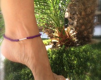 Purple Anklet Beaded Anklet Boho Anklet Ankle Bracelet Stretch Anklet Beaded Bracelet Bridesmaid Gift Beach Wedding Jewelry Gifts Under 20