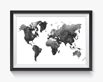 Black world map etsy black watercolor watercolor world map black map black world map travel map gumiabroncs Image collections