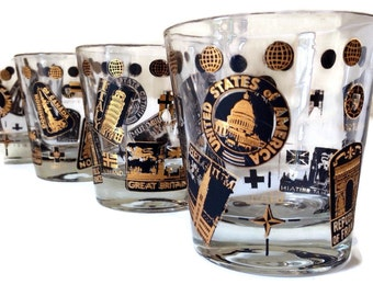 Lovely Mid Century Barware Martini Glasses Vintage Glasses World Cities Black And  Gold Cocktail Glasses Set Of
