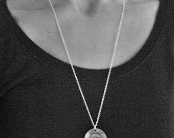 Lotus Stamped Pewter Pendant on long 24inch Sterling Silver chain, Yoga Gift, Relaxation, Yoga Instructor Gift, Meditation Gift