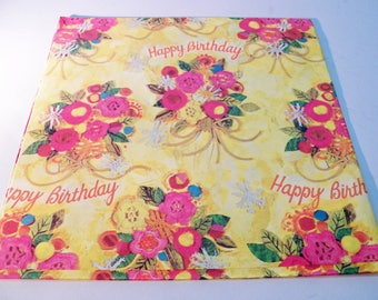 Vintage Gift Wrapping Paper, Vintage Floral Birthday Bouquet Gift Wrap, One Sheet 20X29 inches, Mothers Day,  60s Gift Wrap, Scrapbook