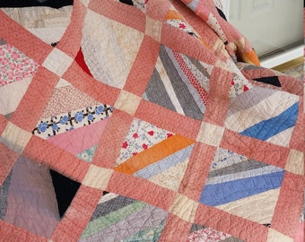 Vintage Quilt, Hand Quilted Pieced Quilt, Cutter Quilt, Craft Quilt, Quilt Fabric, Quilted, Twin Bedding, Will Fit Twin Bed