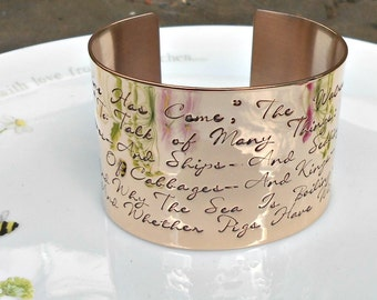 Through the Looking Glass Cuff, Hand Stamped Alice Quote, Wonderland Jewelry, The Walrus and the Carpenter, Bronze Bracelet, Gifts for her.