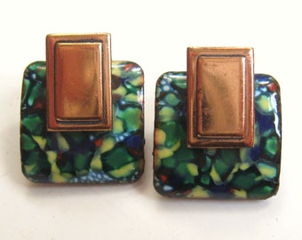 MODERNIST Vintage 1950s MATISSE Green Blue Speckle Spatter Copper ENAMEL Clip Earrings Retro Abstract Mid Century Designer Fashion Jewelry