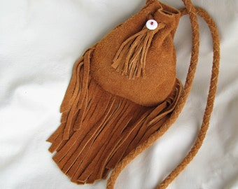 Small Leather Pouch / Medicine Bag - Fully Fringed Moose Hide Suede Pouch w Braided Drawstring Strap
