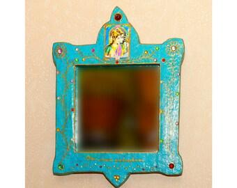 Mirror blue Shiva and Parvati - decorative mirror - Indian - cardboard mirror mirror
