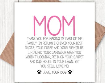 HAPPY BIRTHDAY SON LOVE MOM Dog Mothers Day Card