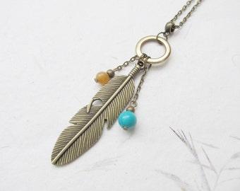 Feather necklace, boho necklace, bohemian necklace, bronze necklace