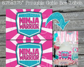"Ninja Gable Box Labels | 3.75x5.75""pink and teal labels 