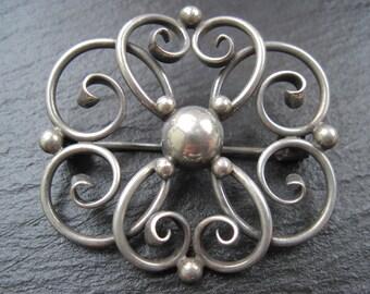 Sterling Silver Scroll Brooch