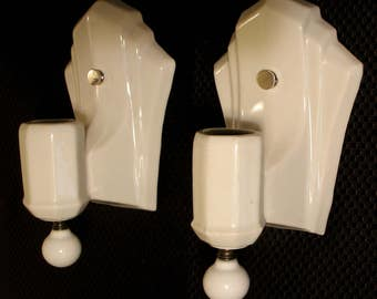 Vintage Lighting: Set of two 1930s-1940s art deco porcelain wall sconces with porcelain ball finials