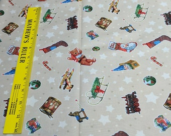 Christmas Toys on Beige Cotton Fabric