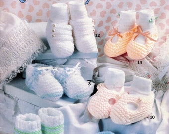 14 KNIT BABY BOOTIES Patterns Leisure Arts 2965 Sandra J. Patterson