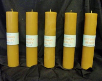 100% Pure Beeswax 9 Inch Pillar Candle 5 Pc Set
