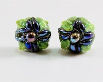 Lampwork Beads Handmade SRA Earring Set Green Blue
