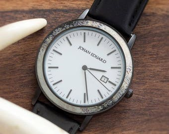 Natural Deer Antler Watch, Matte Black Metal Watch With Black Leather Strap, Hunters Jewelry, Johan Eduard Watches