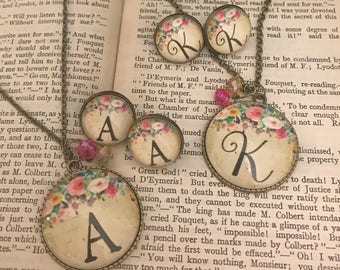 Personalized Initial Necklace & Earring Set Vintage Inspired