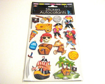 3D Pirate Stickers, Scrapbook Stickers, Locker Stickers, Birthday Party Stickers, Card Making Stickers, Kids Stickers, Family Photo Stickers