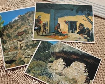 Vintage postcars from Walnut Canyon National Monument, 1981 postcards,vintage ephemera,Sinagua indians,1100 to 1250 A.D.