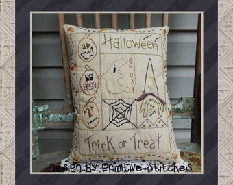 Halloween Sampler-Primitive Stitchery  E-PATTERN by Primitive Stitches-Instant Download