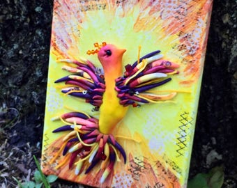 Rising PHOENIX Mixed Media CANVAS Painting