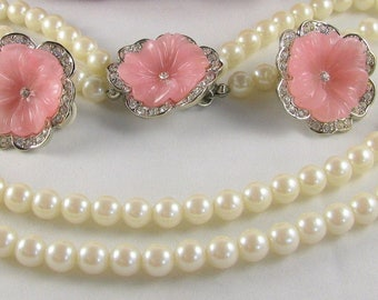 Kenneth Jay Lane Pearl Necklace SET with Pink Flowers - S2145