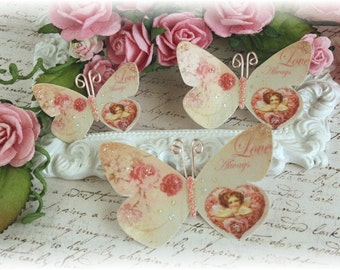Love Always Butterfly Die Cut Embellishments for Scrapbooking or Cardmaking, Tag Art,  Mixed Media, Mini Albums