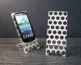 Samsung Galaxy S5 S4 S3 Android Acrylic Smart Phone Stand Docking Station Cell Phone Dock Polka Dots