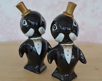 Vintage Walrus Salt and Pepper Shakers in Black with Dark Gold Paint