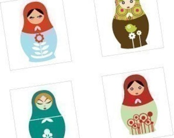 Mod Matryoshka Dolls - Scrabble Size Printable Images - Buy 2 Get 1 Free - Instant Download - .75x.83 Inch - Digital File-Automatic Download