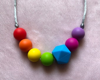 Rainbow Teething and Fiddle Necklace