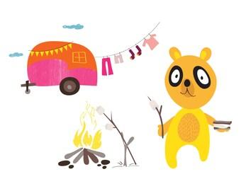 Panda Print  - S'mores - Outdoorsy Wall Art, Camping Print, Home Decor Camping Wall Art,  Happy Camper Art Print, Camping Nursery Wall Art