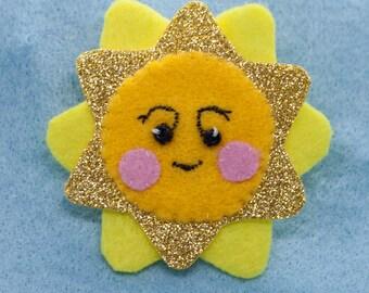 Smiling Yellow Sun Felt Hair Clip