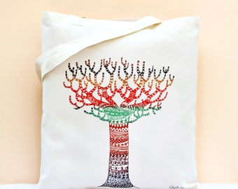 Cotton Tote Bag / Shopping bag / Organic Cotton Bag - colorful tree