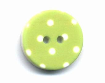 Fancy button lime green polka dots