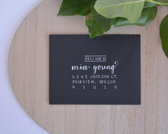 Handwritten Calligraphy Wedding Invitations-Envelope Addressing-Wrigley