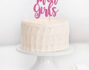 Twin Girls Cake Topper, Twin Girls Baby Shower, Twins Cake Topper, Baby  Shower