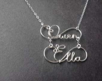 Handmade Double Name or Word Necklace in Sterling Silver Wire, Handmade Double Layer Two Names