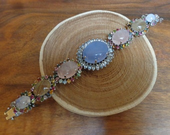 Stunning Aquamarine, Chalcedony, Moonstone, Rose Quartz, Rutilated Quartz and Mixed Tourmaline bracelet in Sterling Silver