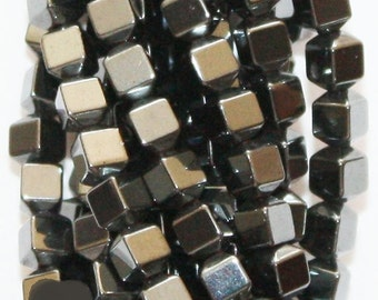 """Hematite Beads 3 mm, Faceted hexagon beads - Full Strand 16"""", 145 beads, AA - Quality, Item 8"""