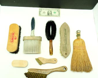 Vintage brush lot-old brushes collection-whisk broom-antique farm house-country primitive