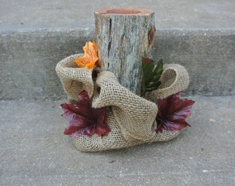 Bridal Shower Decor, Wood Candle Holder Centerpiece, Burlap & Fall Leaves Decor,