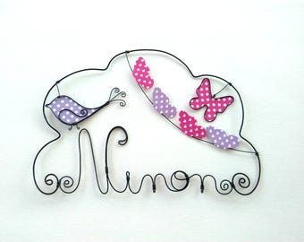 """Name wire customizable """"swarm of butterflies"""" decoration for child's room wall cloud"""