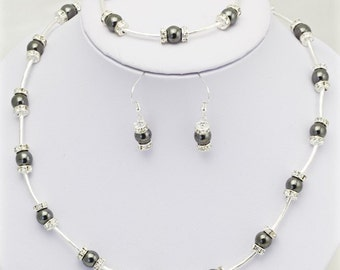 magnetic hematite necklace with magnetic clasp